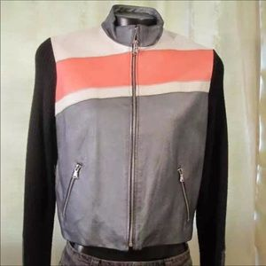 Vintage Leather Jacket Black Orange Grey Tan